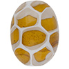 Topaz, White Honeycomb Oval Murano Glass Bead 25x16mm