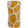 Topaz, White Honeycomb Tube Murano Glass Bead 25x12mm