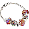 Northern Lights European Charm Bracelet with Murano Glass and Crystals