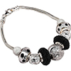 PerlaVita Bracelet in Black and Silver with Crystals, 7 1/2 Inches Snake Chain Sterling Silver Bracelet