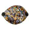 Black Twist Leaft Klimt Exterior Gold Foil 30mm, Murano Glass Bead