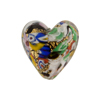 Klimt Heart 20mm Black Base Puffy Gold Foil, Murano Glass Bead