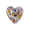 Venetian Bead Klimt Heart Black Base 20mm Puffy Silver Foil