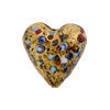 Black 20mm Klimt Exterior Gold Foil Multi Murano Glass Bead