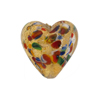 Klimt Heart 20mm Puffy Gold Foil Multi, Murano Glass Bead