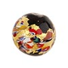 Gold Klimt Murano Glass Bead, Black Base Round 16mm