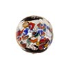 Silver Klimt Murano Glass Bead, Black Base Round 16mm