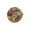 Gold Klimt Murano Glass Bead, Red Base Round 18mm