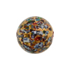 Klimt Style Mosaic Murano Glass Bead w/Exterior Gold, Red, 18mm