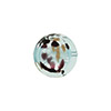 Dark Aqua Chocolate Leopard Print Silver Foil Coin 14mm, Murano Glass Bead