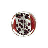Red Leopard Silver Foil Print Coin 16mm, Murano Glass Bead