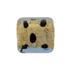 Murano Glass Bead Leopard Rectangle 18mm Gold Foil Blue