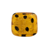 Murano Glass Bead Leopard Rectangle 18mm Gold Foil Topaz
