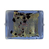 Blue Spotted Gold Foil Rectangle 25mm, Venetian Glass Bead