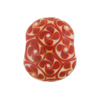 Red White Lampwork Flowers Disc 18mm Murano Glass