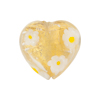 Yellow Daisy Millefiori Heart Gold Foil 20mm Murano Glass Bead