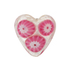 Millefiori Heart Silver 20mm Rubino Flowers, Murano Glass Bead