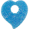Millefiori Flat Heart Pendant 45mm Aqua Lace, Murano Glass