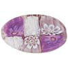 Millefiori Flat Oval Venetian Bead, 30mm Pink, Purple, White