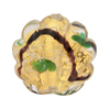Peridot 24kt Gold Foil Miro Shells 25mm Murano Glass Bead