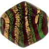 Emerald Red Exterior Gold Foil Missioni Diamond 34mm Murano Glass