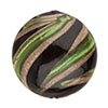 Murano Glass Bead Green, Black Missoni Round 16mm