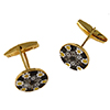 Yellow/Black Millefiori Murano Glass Cufflinks Gold Plate