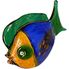 Murano Glass Fish Sculpture in Blue, Orange and Green