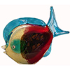 Murano Glass Fish Sculpture in Reds and Aqua