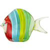Aqua, Yellow and Green Striped Fish with 24kt Gold Foil Accents Murano Glass