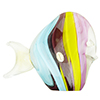 Purple, Aqua and Yellow Striped Fish with 24ktGold Foil Accents Murano Glass
