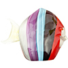 Purple, Aqua and Red Striped Fish with 24k tGold Foil Accents Murano Glass