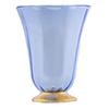Venetian Wine Glass - Light Blue and Gold, Stemless with Gold Foot