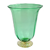 Venetian Wine Glass - Green and Gold, Stemless with Gold Foot