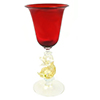Murano Mouth Blown Red Cordial Glass with Gold Classic Dolphin Stem