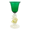 Murano Mouth Blown Emerald Cordial Glass with Gold Classic Dolphin Stem