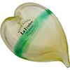 Murano Glass Mouthblown 24kt Gold Foil with Green Stripe Heart Paperweight