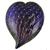 Murano Glass Mouthblown Cobalt Blue with Gold Bubbles Heart Paperweight