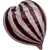 Murano Glass Mouthblown Red and White Zanfirico Stripes Heart Paperweight