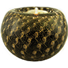 Black Gold Bubbles Murano Glass Votive, Authentic Murano Glass