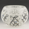 Clear with Silver Foil Bubbles Murano Glass Votive, Authentic Murano Glass