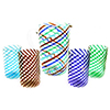 Murano Glass Mouthblown Spirale Glass Striped Pitcher and Tumbler Set