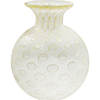 Murano Glass Vase Round with Gold Bubbles, Clear Mouth Blown