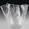 Murano Glass Vase Crystal Clear with Silver Bubbles