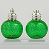 Emerald Green with Gold Bubbles Murano Glass Salt and Pepper Shaker Set, Authentic Murano Glass