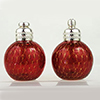 Red with Gold Bubbles Murano Glass Salt and Pepper Shaker Set, Authentic Murano Glass