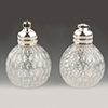 Clear with Silver Foil Bubbles Murano Glass Salt and Pepper Shaker Set, Authentic Murano Glass