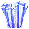 Murano Glass Vase White Zanfirico and Blue Stripes