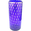 Murano Glass Vase Tall Cylinder  with Gold Bubbles, Cobalt Blue Mouthblown