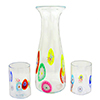 Murano Glass Mouthblown Crystal and Millefiori Carafe with 2 Glasses